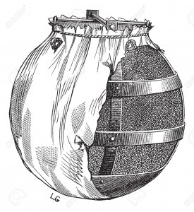 Old engraved illustration of bomb or fire bomb isolated on a white background. Industrial encyclopedia E.-O. Lami - 1875.